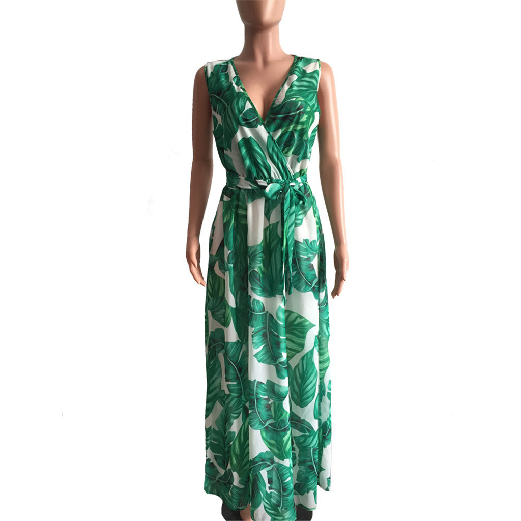 Womens Chiffon V Neck Printed Floral Maxi Dress With Belt Sleeveless Stylish Beach Dress Fresh Fashion Sundress Sommerkleid #SYS