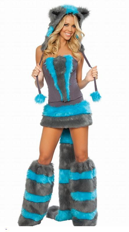 Halloween Top Selling Fur Corset costume Cheshire Cat Corset CostumeWomen Winter Style Furry Party Costume