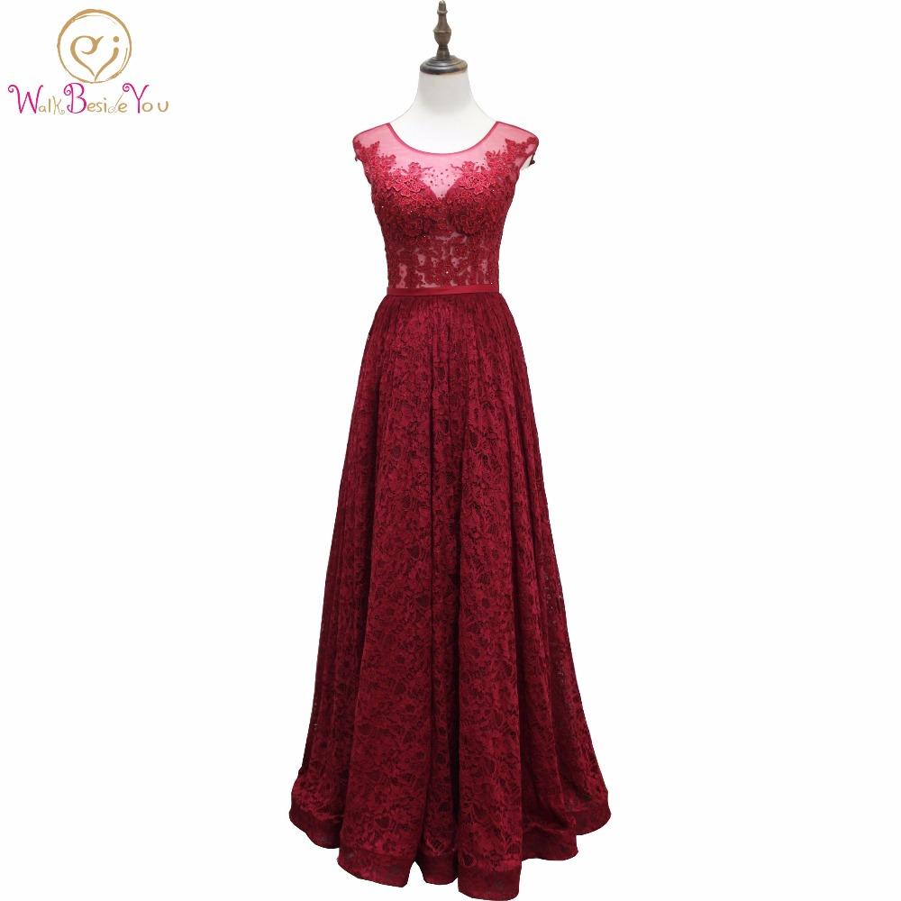 Walk Beside You Burgundy Lace Prom Dresses vestido de formatura ...