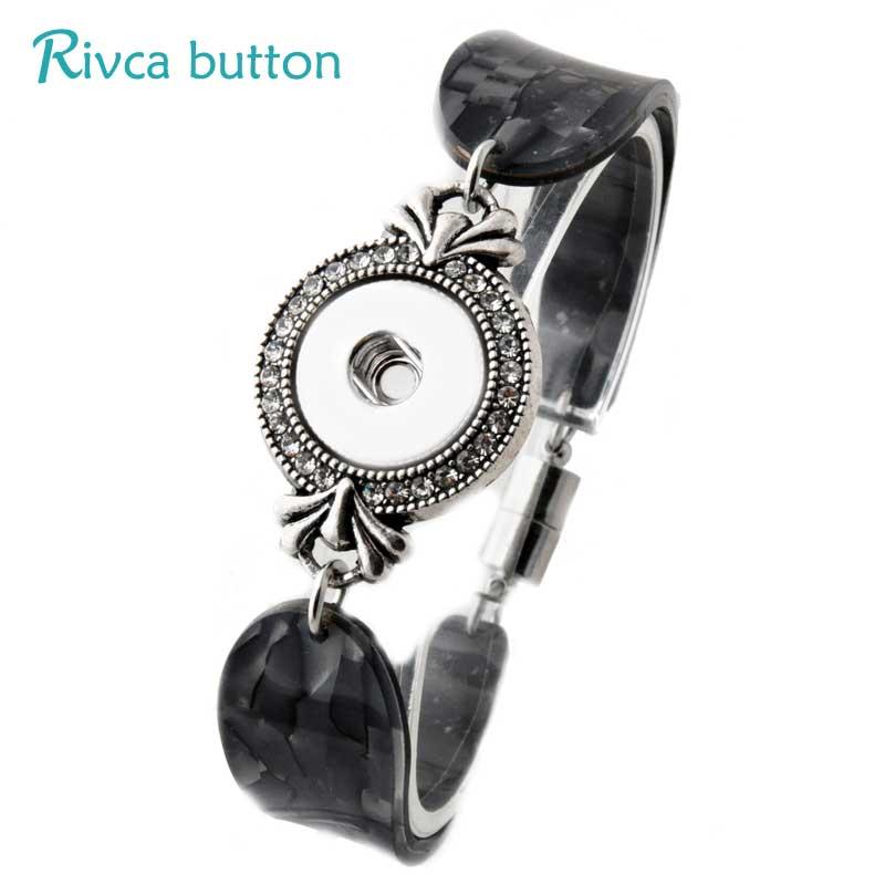P00813 -8 Snap Button Bracelet&Bangles 8 color Acrylic Charm Weak Magnetic Bracelet Woman Ginger Snap Button Rivca Jewelry