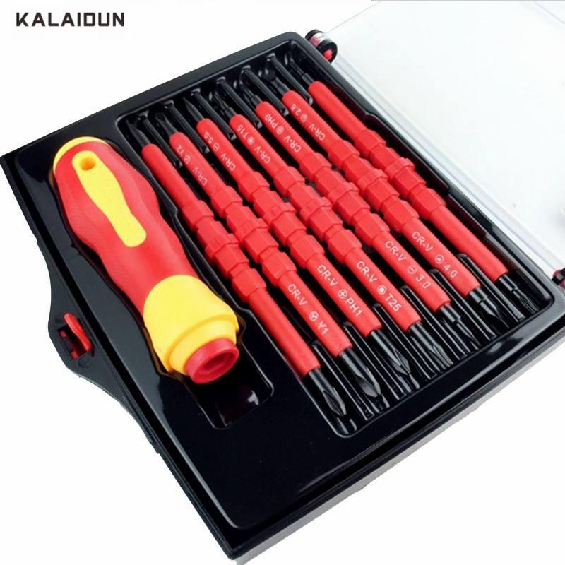 KALAIDUN 14 IN 1 Set di Cacciaviti Multi-purpose Electrican Magnetico isolato A Mano Elettrico scerwdriver set attrezzi di riparazione kit set