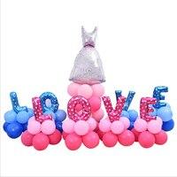 36 sztuk/zestaw Różowy i Niebieski List MIŁOSNY Drogowego Led Filar Folii Aluminiowej Balony Wedding party Decoration Zaproponować Tworząc Atmosferę