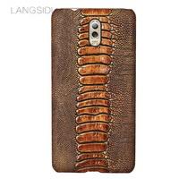 LANGSIDI brand phone case ostrich foot grain half wrapped phone case For Samsung Galaxy C8 phone case handmade custom processing