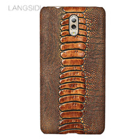LANGSIDI Brand Phone Case Ostrich Foot Grain Half Wrapped Phone Case For Samsung Galaxy C8 Phone