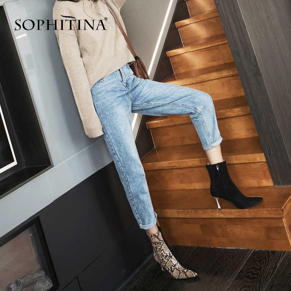 SOPHITINA moda kare ayak botları özel tasarım karışık renkler süper yüksek ince topuk kadın ayakkabı yeni sıcak satış yarım çizmeler PO213