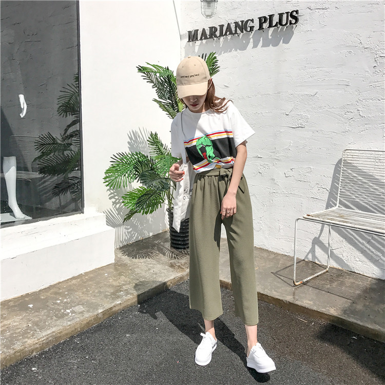 19 Women Casual Loose Wide Leg Pant Womens Elegant Fashion Preppy Style Trousers Female Pure Color Females New Palazzo Pants 16