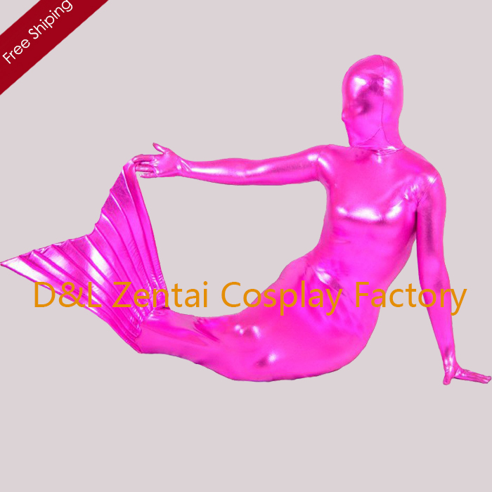 Active Free Shipping Dhl Sexy Adult Fuchsia Shiny Metallic Mermaid Zentai Costume Full Body Covered Cosplay Costume Sp1349 To Produce An Effect Toward Clear Vision Home
