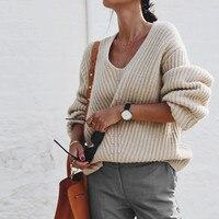 Oversize sweater pullover jumper women winter basic V NECK warm wool sweater high quality brand knitwear 2018 fall new