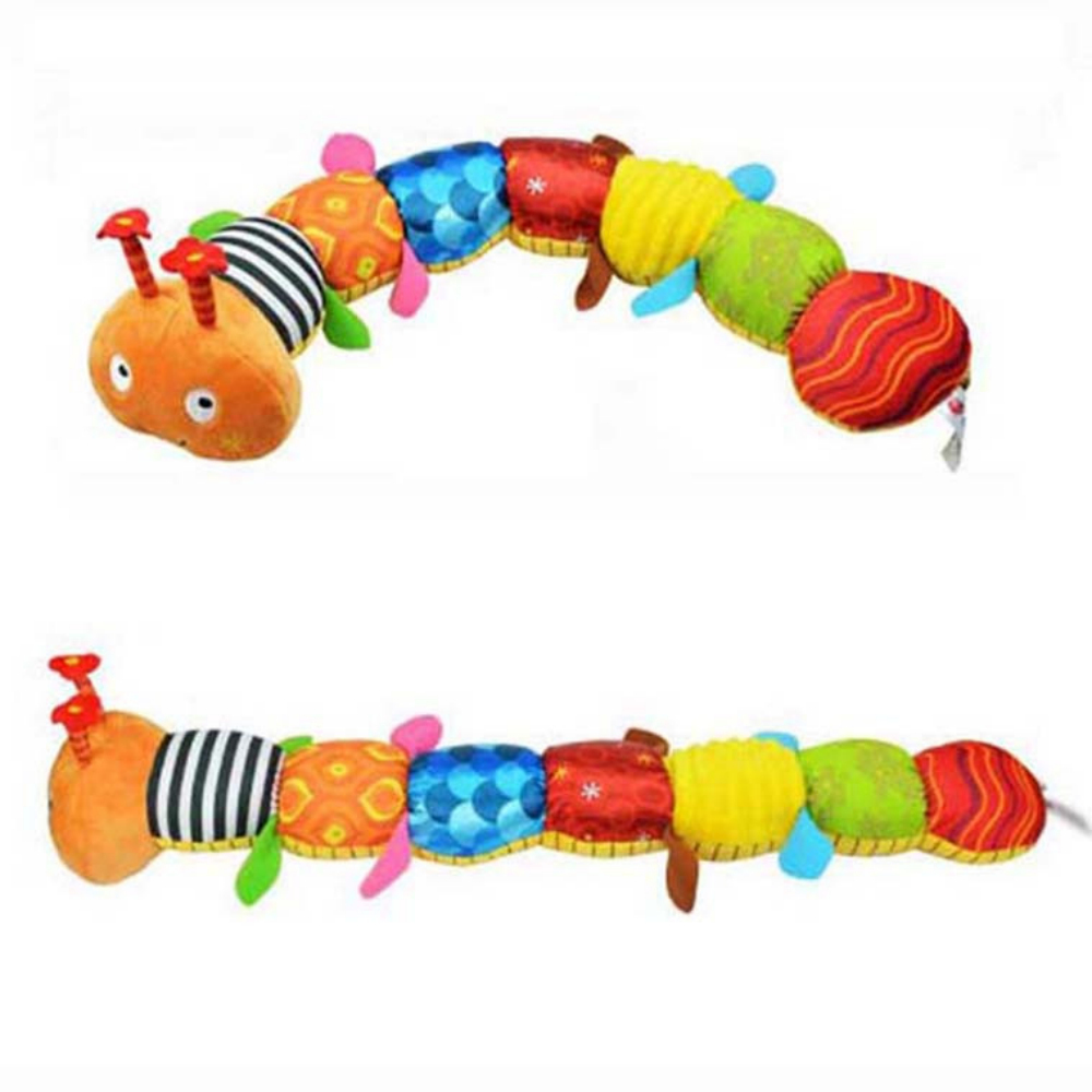 Baby Toy Musical Caterpillar Rattle With Ring Bell Cute Cartoon Animal Plush Doll Early Educational Toys Gift