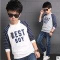 2017 novos esportes Camisolas menino crianças outono camisa de manga comprida grande virgem letras criança Crianças T-Shirt 3-14 anos meninos roupas