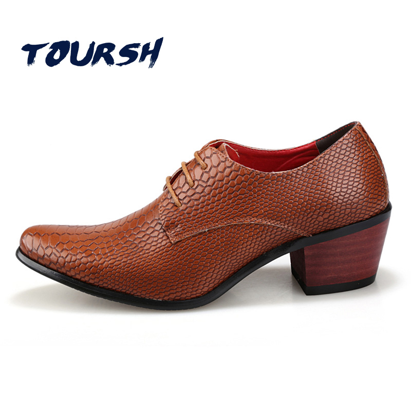 TOURSH Soft Crocodile Pattern Artificial Leather Breathable Men Dress Shoes Lace-Up Business Office Oxfords Casual Party Shoes 2017 simple common projects breathable lace up handmade leather shoes casual leather shoes party shoes men winter shoes