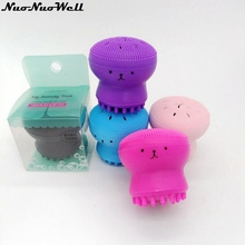Jellyfish Shaped Silicone Octopus Face Cleanser Powder Puff Brush Facial Puff Face Cleanse Washing Silicone Makeup Tools