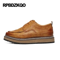 Comfort Stylish Men Shoes Casual Leather Platform Creepers Footwear Black British Style Brogue Wingtip Brown Spring