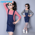 2017 New Style Girls Denim Clothing Sets Toddler Kids Stripped T Shirt+ Denim Suppender Vest Dress Teenagers : Korean Clothes