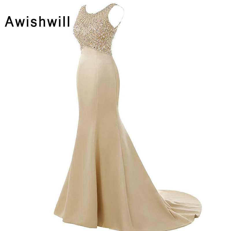 Champagne Sleeveless Mermaid Evening Dresses Floor Length Elegant Long Formal Dresses Robe De Soiree Vestidos Largos