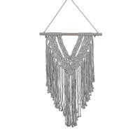 Macrame Woven Wall Hanging V Shape Bohemian Tassel Tapestry for Apartment Dorm Living Room Decoration