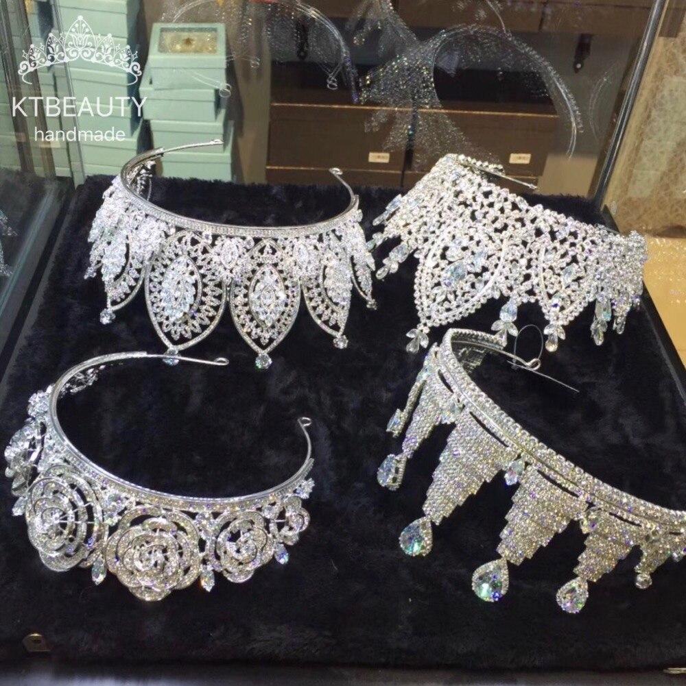 Nuevos diseños de personalización avanzada de lujo zirconia corona Tiara diamantes de imitación reina Real Princesa desfile fiesta corona damas de honor