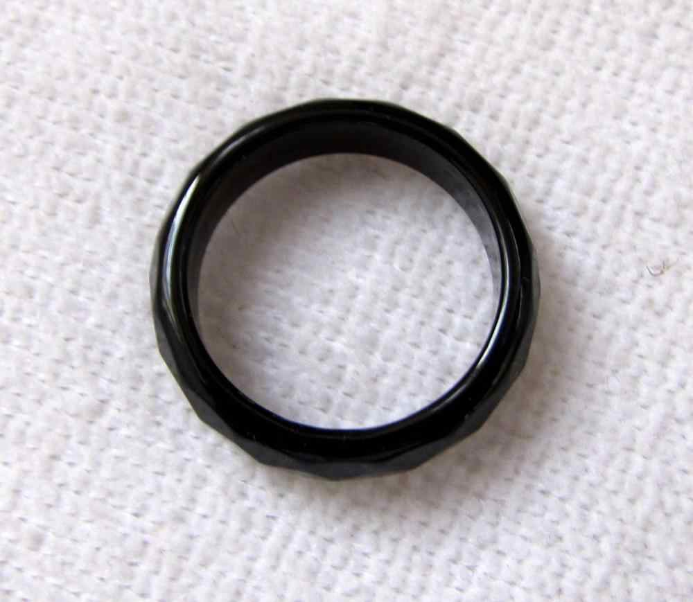 จีนธรรมชาติอาเกตสีดำหยกแกะสลักวงเครื่องประดับแหวนขนาด7 #-8.5 #