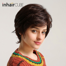 INHAIR cube Женские синтетические волосы натуральные прямые короткие парики Многослойные пушистые Средний размер эластичный дышащий парик