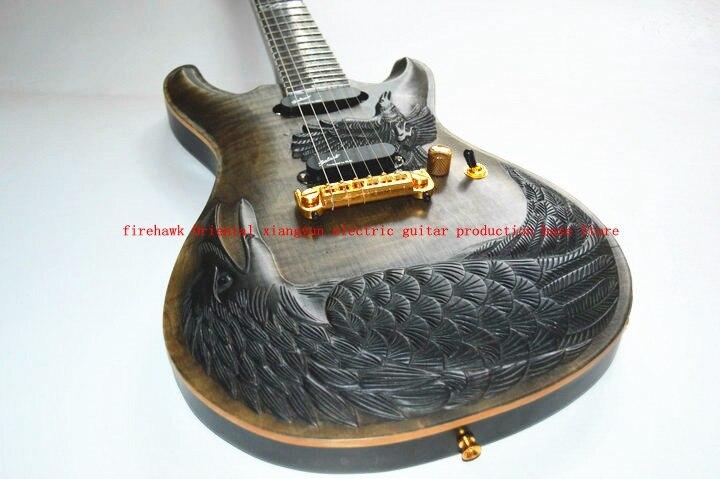 De La Chine personnalisé guitare électrique ps CNC sculpté vol d'oiseau aigle guitare électrique peut être personnalisé toute sculpture