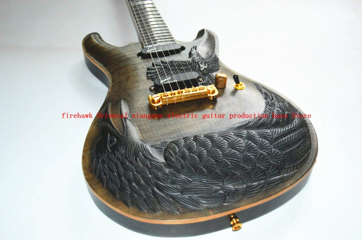 From China custom electric guitar ps CNC carved bird crow eagle electric guitar can be customized any carvingFrom China custom electric guitar ps CNC carved bird crow eagle electric guitar can be customized any carving
