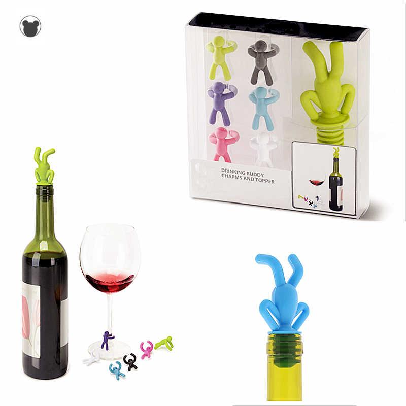 7PCS Del Silicone tappo della bottiglia di vino boston bere compagno Del Partito marcatore bicchiere di Vino bar accessori champagne stopper da cocktail sughero