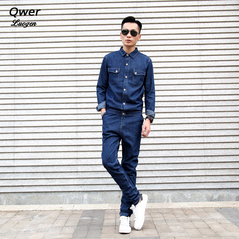 17837001e791 2019 Spring Jeans Men Sets Long Jumpsuit Campus Rompers Detachable Slim Hip  Hop Young Jumpsuits Onesies