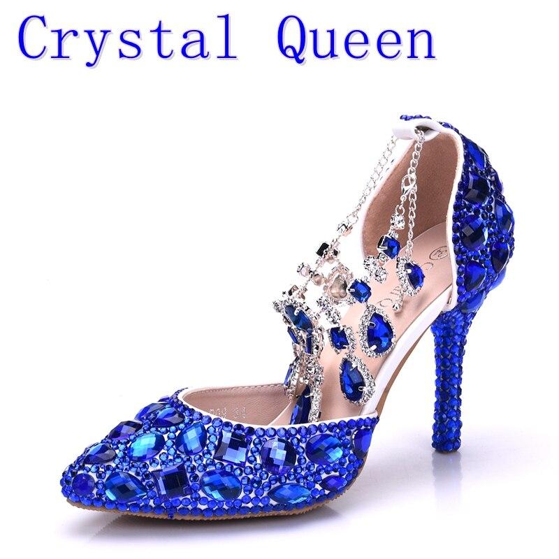 Crystal Queen Women Blue Rhinestone Crystal Wedding Shoes Graduation Party Prom Shoes Nightclub Evening Bridal Sandals High Heel