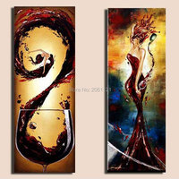 Hand Painted Kitchen Decor Canvas Painting Set WOME AND Wine Abstract RED Modern Wall Decorative Landscape