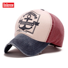 1Piece Free shipping Boat anchor printed baseball cap  cotton washed hats for men and women