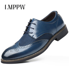 Pointed Men Brogue Shoes Italian Brand Fashion Style Leather Dress Office Black Brown Luxury Breathable Oxford