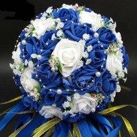 2018 Buquê De Noiva Artificial Venda Quente Subiu Flores Pérolas Acentos Do Laço Nupcial Da Noiva Bouquets De Casamento com Fita