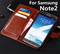 Azns Wallet Phone Case For Samsung Galaxy Note 2 N7100 Leather Cover For Note2 N719 Flip