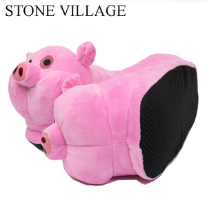 Image 4 - STONE VILLAGE White Pink Pig Animal Prints Cotton Home Slippers Playful Plush Winter Indoor Shoes Women Slippers Shoes Plus Size