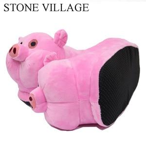 Image 4 - STONE VILLAGE, chaussures avec motifs danimaux de cochon, chaussures dhiver pour femmes, blanc, rose, pantoufles de maison, ludiques, en peluche, chaussons, grande taille