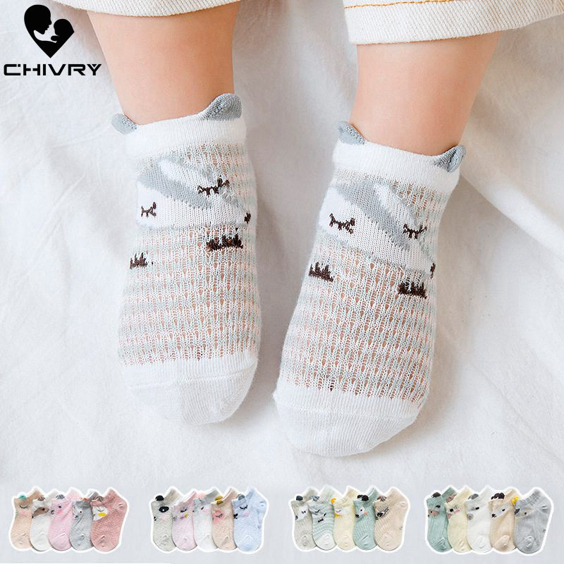 Chivry 5Pairs/lot Baby Socks Newborn Summer Mesh Thin Baby Socks For Girls Cotton Infant Casual Boy Girls Toddler Socks Cartoon