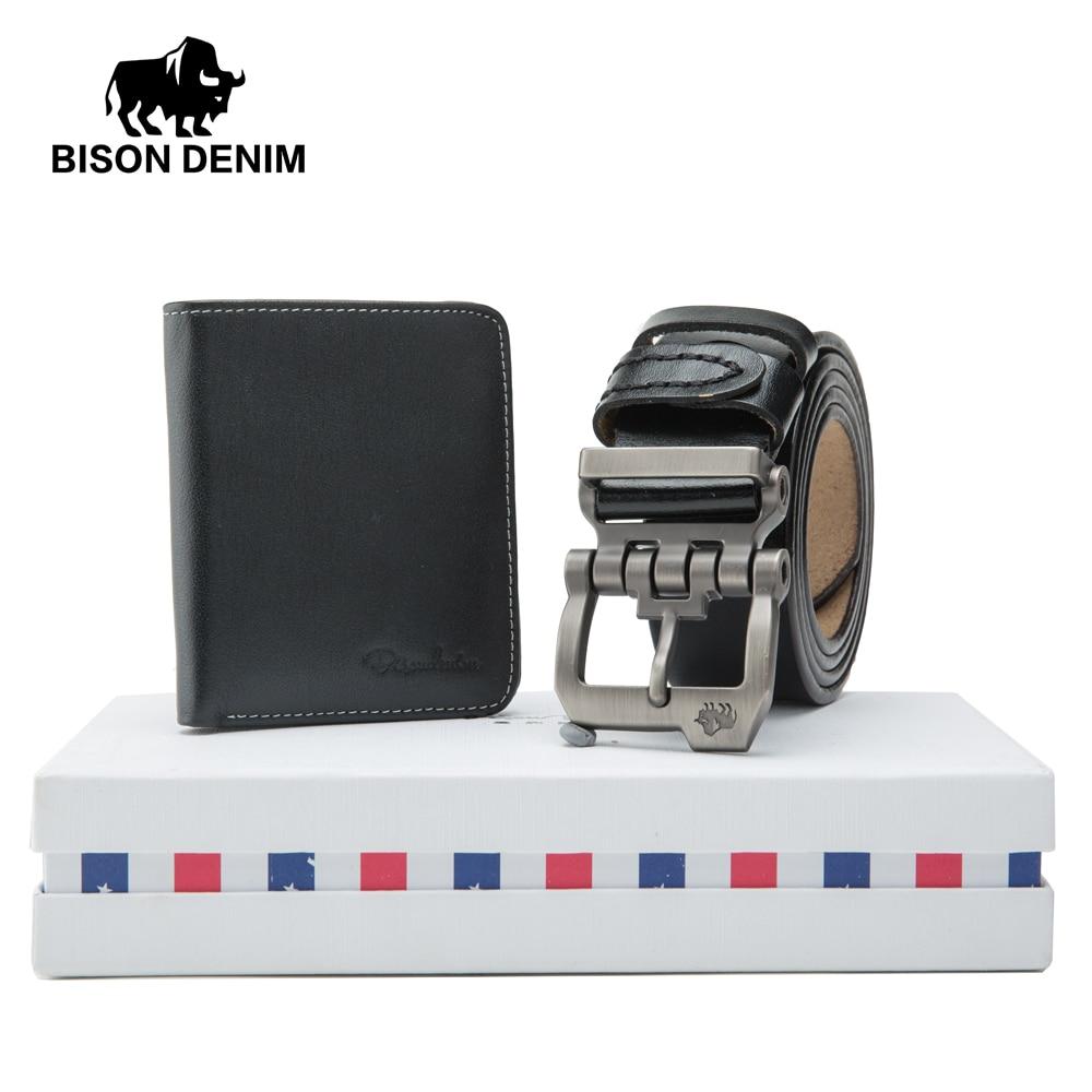 BISON DENIM Men's Belt Fashion Wallet Genuine Leather Pin Buckle Male Belts Strap Set Gift Set For Men