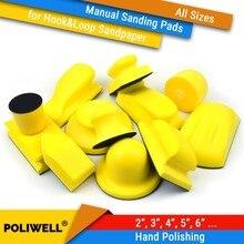Almohadillas de lijado de respaldo para abrasivos, gancho y bucle de mano, todos los tamaños, discos de lija para carpintería, herramientas de pulido Manual