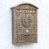 Cast Iron Mailbox Postbox Embossed Trim Decor Wall Metal Mail Post Letters Box