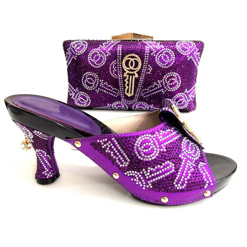 Purple Color African Shoes And Bag Matching Set With Crystal Hot Selling Women Italian Shoes And Bag Set For Party Wedding 2018 hot artist hot selling italian pumps and bag set new design high heels shoes and matching bag set for party free shipping yk 568
