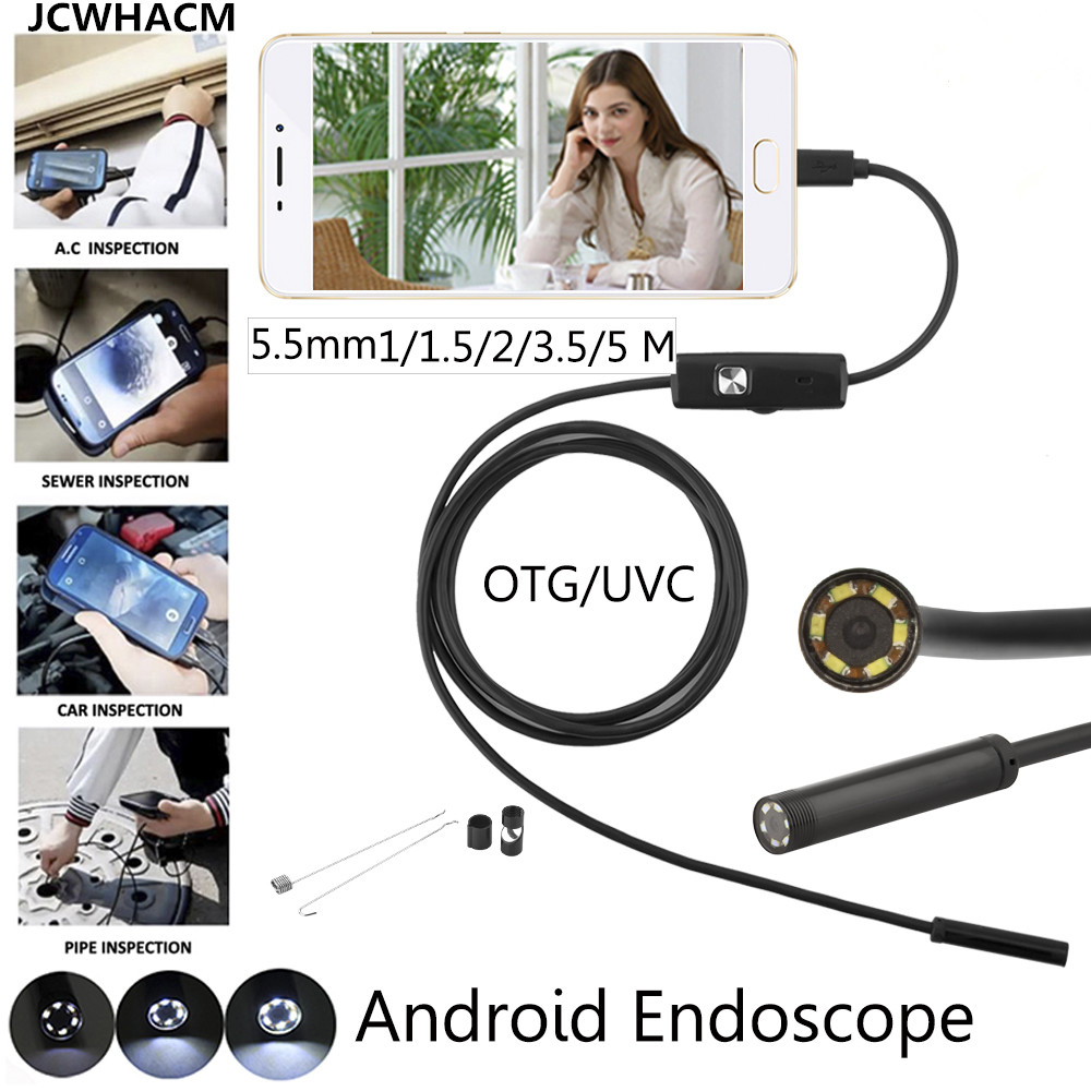 5.5mm Lens 1/2m/5M Wire Android USB Endoscope Camera Flexible Snake USB Pipe Inspection Borescope Camera image