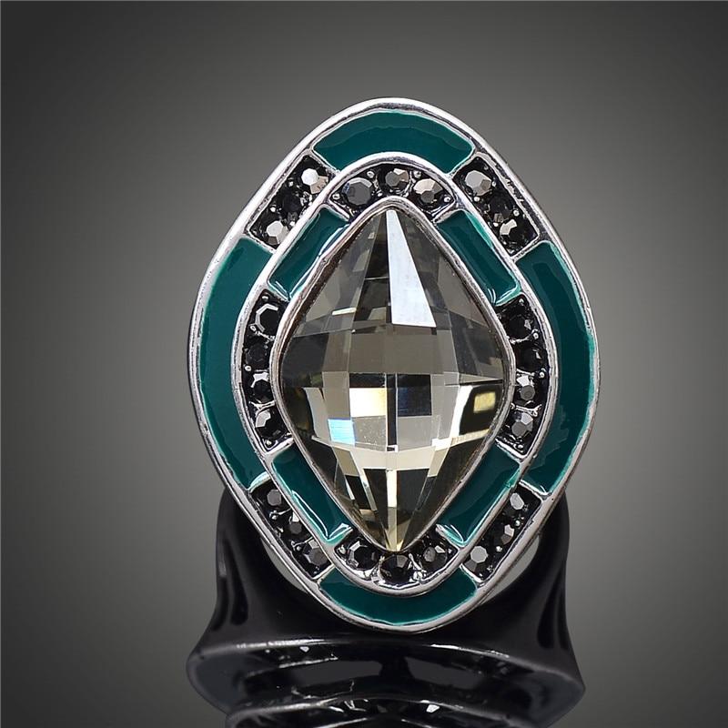 Retro Antique Silver Big Crystal Rings for Women Punk Femme Joyeria Ringen J02327