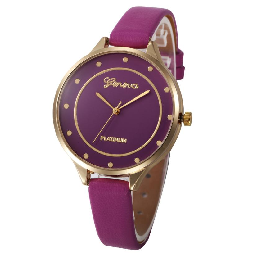 2018 New Fashion Watch Leather Band Quartz Watches Casual Luxury Simple Big Dial Round Shape Business LED Wristwatch for ladies ladies women s fashion style casual watch leather round wristwatch heart love pattern dial with pink white black yellow relogio