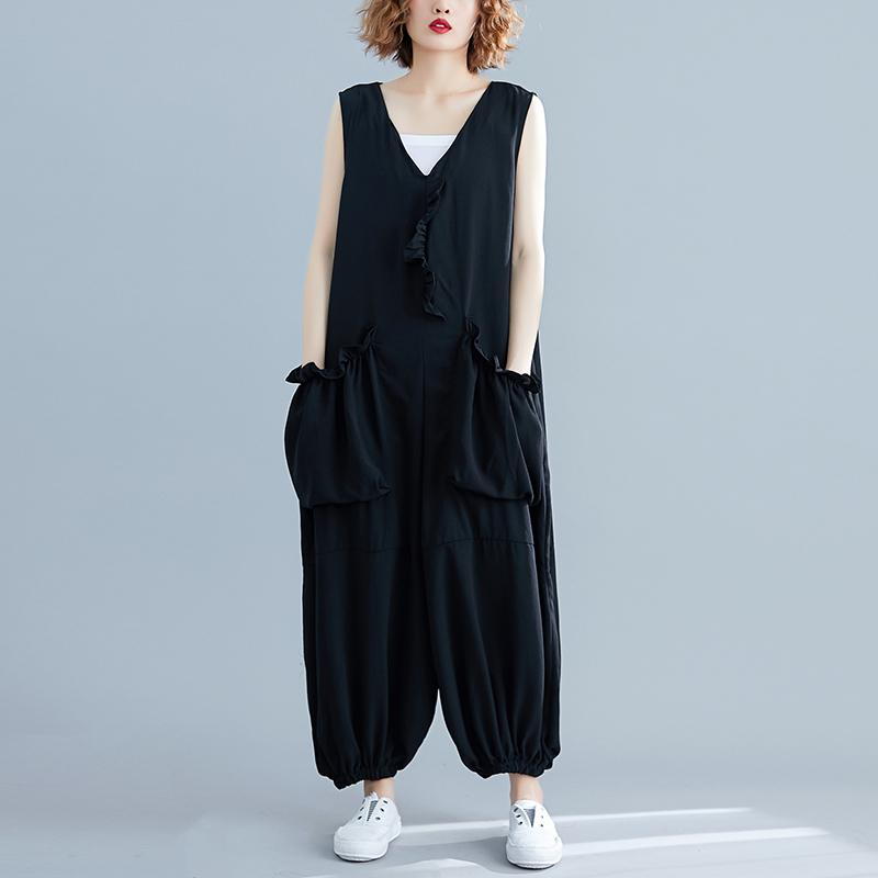 Womenv-neck Sleeveless Playsuit Bodysuit Casual Loose Overall Jumpsuit Strap Romper Ankle-Length Pants