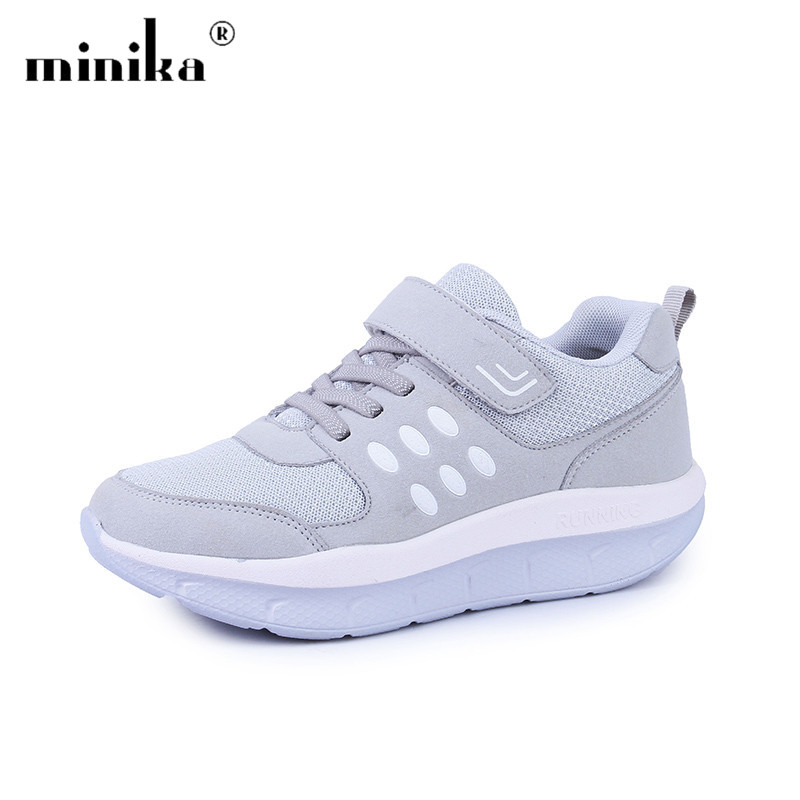 Minika Mesh Casual Shoes Trainers Women Sneakers Health Slimming Breathable Swing Wedge Platform Men Shoes zapatos mujer cute strawberry women platform shoes summer mesh body shaping slimming flats fitness lady swing shoes health nurse work sneakers