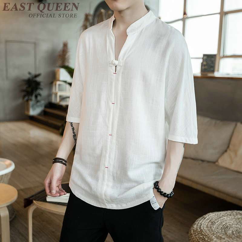 Traditional chinese clothing for men chinese market online solid casual fashion male blouse shirt shang hai tang tops AA3882 Y A
