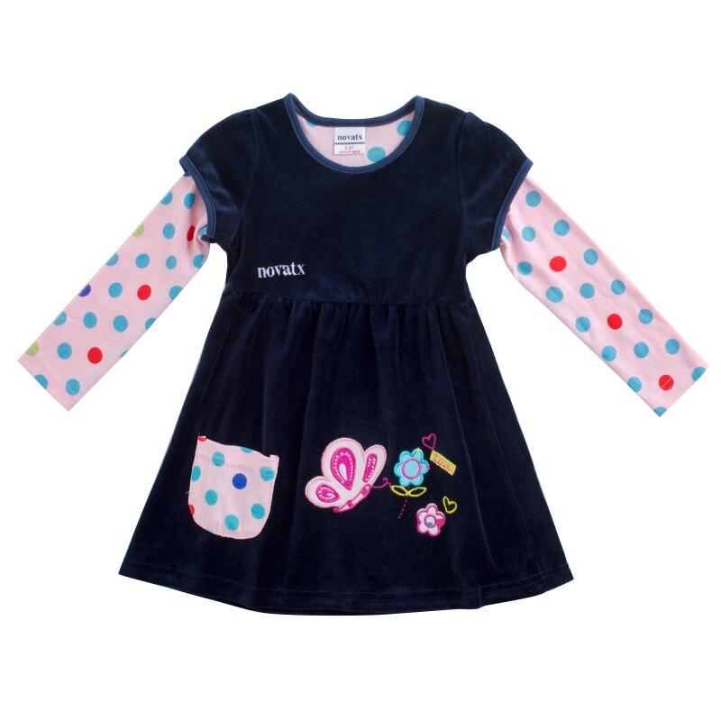 Novatx F7139 детская одежда платье с мультяшным принтом горячая распродажа зимних детских платьев платье для малышки сдвига плюшевые дети плать...