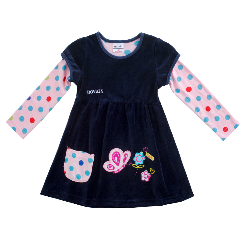 novatx F7139 kids clothing cartoon dresses hot selling kids winter dresses baby dress Shear plush kids frocks girl casual dress