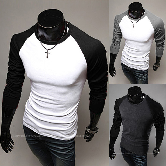 aba6b05b0d7 2015 new raglan sleeve men s hit color long sleeve T-shirt 5 Color Free  Shipping 5510