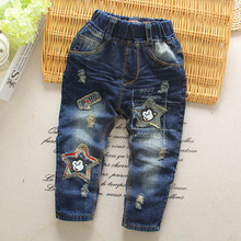 Hot Selling 2016 New Spring Fall Boys Trousers Fashion Elastic Waist Kids Stretch denim Pants Casual Jeans Children Clothing